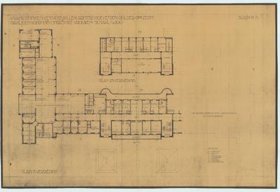 Bouwtekening. Plattegrond 1e en 2e verdieping