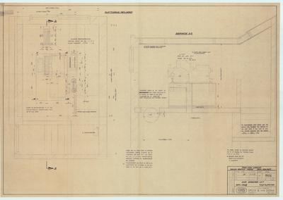 Technische tekening. Plattegrond en doorsneden machinekamer voor brancardlift