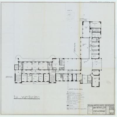 Technische tekening. Noodverlichting en vluchtwegen 1e verdieping