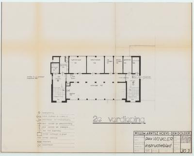 Technische tekening. Noodverlichting en vluchtwegen 2e verdieping