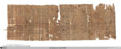 Papyrus mit einer Liste, einer Abrechnung und einem Schultext