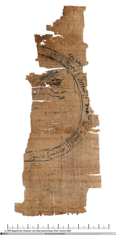 Papyrus: R: Tierkreis mit Planetenstellungen; V: Rechnungen
