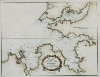 Plano de las rias de Ferrol, Coruña, y Betanzos [Material cartográfico] ]