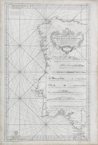 Carte réduite des Costes d'Espagne et de Portugal Depuis le Cap Pinas jusqu'au Détroit de Gibraltar [Material cartográfico]