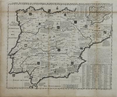 Carte historique et geographique des Royaumes d´Espagne et de Portugal : Divises selon leurs Royaume et Provinces [Material cartográfico]