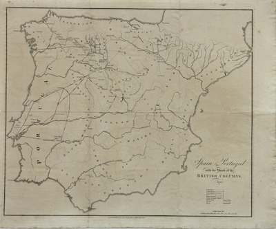 Spain & Portugal with the March of the British Columns [Material cartográfico]