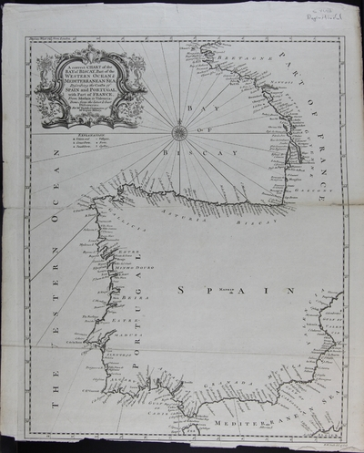 A correct chart of the Bay of Biscay, Part of the Western Ocean & Mediterranean Sea : describing the Coasts of Spain and Portugal, with Part of France, From Morlaix to Valencia. Done from the latest & best Discoveries [Material cartográfico] ]