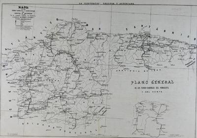 Mapa de los ferro-carriles y carreteras de Galicia y Asturias [Material cartográfico]