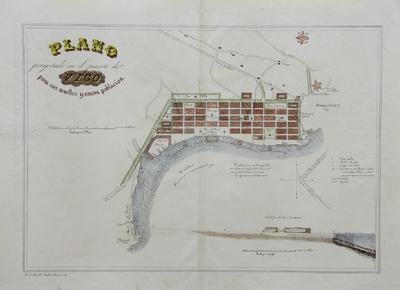 Plano proyectado en el puerto de Vigo para sus muelles y una nueva población [material cartográfico]