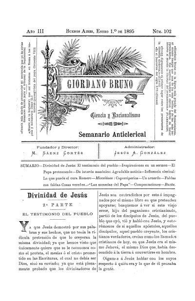 Giordano Bruno ciencia y racionalismo : semanario anticlerical