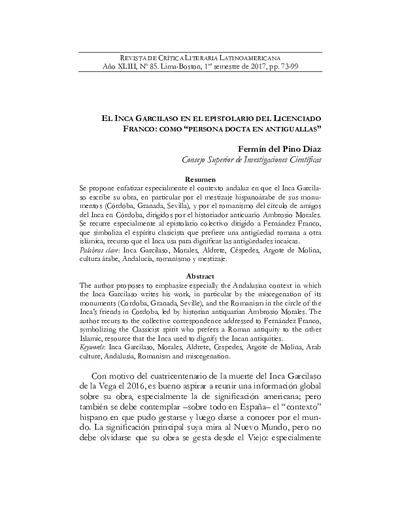 El Inca Garcilaso en el epistolario del Licenciado Franco : como persona docta en antiguallas