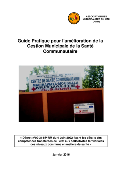Guide pratique pour l'amélioration de la Gestion Municipale de la Santé Communautaire
