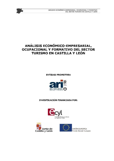 Análisis económico-empresarial, ocupacional y formativo del sector turismo en Castilla y León