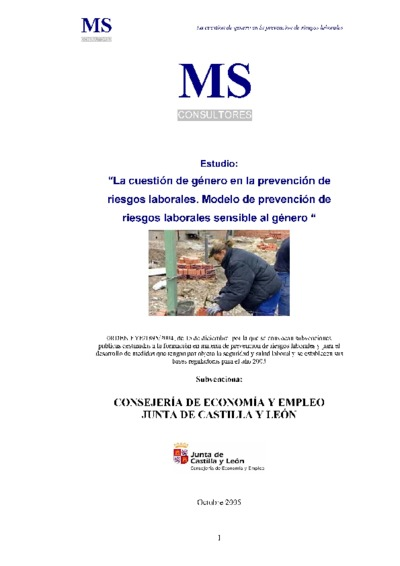 La cuestión de género en la prevención de riesgos laborales : modelo de prevención de riesgos laborales sensibles al género : estudio