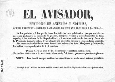 El Avisador : periódico de anuncios y noticias, que ha empezado a salir en Valladolid en este año tres días a la semana.