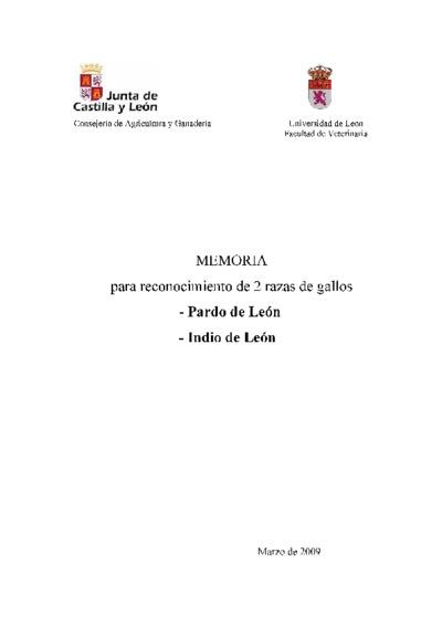 Memoria para reconocimiento de 2 razas de gallos, Pardo de León, Indio de León