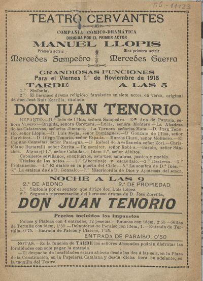 Teatro Cervantes [Material gráfico] ]: grandiosas funciones para el viernes 1º de noviembre de 1918 : Compañía Cómico-Dramática dirigida por el primer actor Manuel Llopis.