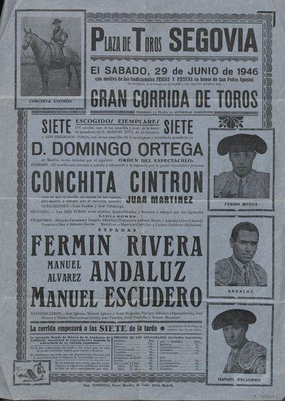 Plaza de toros, Segovia [Material gráfico] ]: el sábado, 29 de junio de 1946 ... gran corrida de toros.