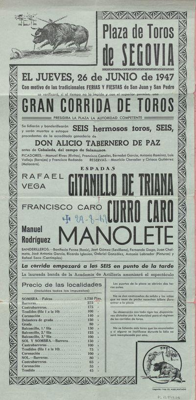Plaza de toros de Segovia [Material gráfico] ]: el jueves, 26 de junio de 1947 ... gran corrida de toros.