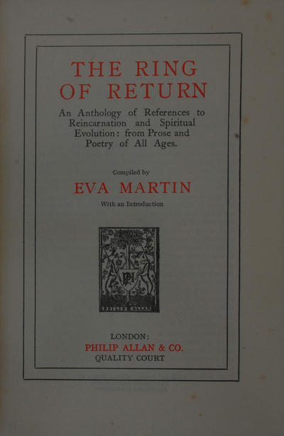 <The >ring of return: <an >anthology of references to reincarnation and spiritual evolution