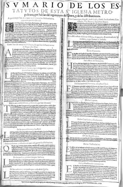 Sumario de los estatutos de esta Sta. Iglesia Metropolitana, que hablan del regimiento del Choro, y de las distribuciones