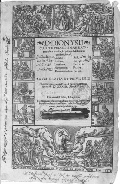 D. Dionysii Carthusiani Enarrationes... in quinque Mosaicae legis libros : hoc est, Genesim, fo. 1, Exodum, fo. 142, Leuiticum, fo. 234, Numerorum, fo. 293, Deuteronomium fo. 352