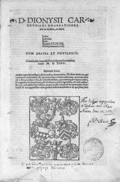 D. Dionysii Carthusiani : enarrationes piae ac eruditae in libros Iosue, Iudicum, Ruth, Regum I, II, III, IIII, Paralipomenon I, II