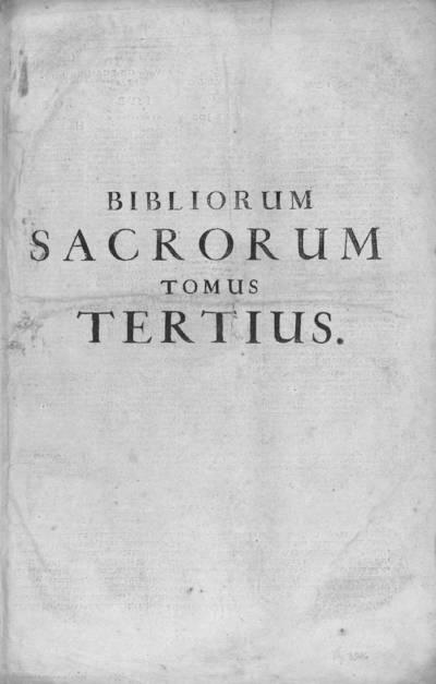 Bibliorum sacrorum tomus tertius