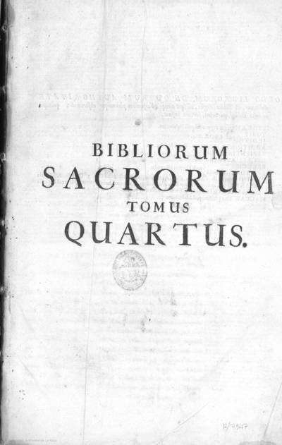 Bibliorum sacrorum tomus quartus