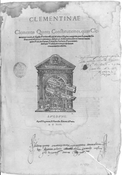 Clementinae Clementis Quinti Constitutiones : quas Clementinas vocant