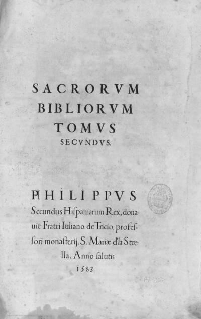 Sacrorum Bibliorum tomus secundus
