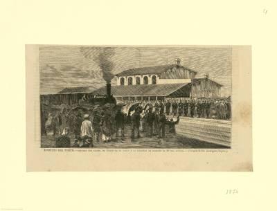 Ejército del Norte. Llegada del Excmo. Sr. Duque de la Torre a la estación de Logroño [Material gráfico]