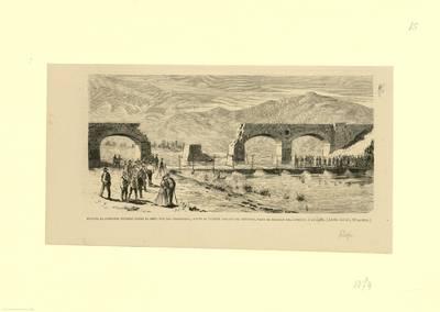Puente de pontones tendido sobre el Ebro, junto al puente cortado de Cenicero [Material gráfico]