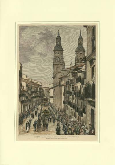 Logroño : paso del entierro del General Espartero por la calle del Mercado [Material gráfico]