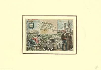 [Logroño con escudo, pareja típica, retrato de Bretón de los Herreros y mapa de Logroño] [Material gráfico]