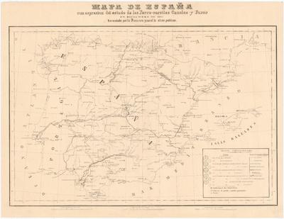 Mapa de España con espresion del estado de los Ferro-carriles Canales y Faros