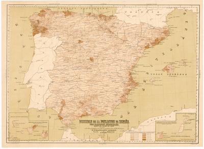 Densidad de la poblacion de España por Partidos Judiciales según el censo de 1860