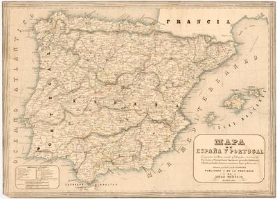 Mapa de España y Portugal : Comprende los Ferro-carriles y Telégrafos ; division de Provincias y Metropolitana ; Capitanías generales, Audiencias y Partidos judiciales ; distancias marítimas, Faros y Arsenales