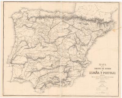 Mapa de los caminos de hierro de España y Portugal