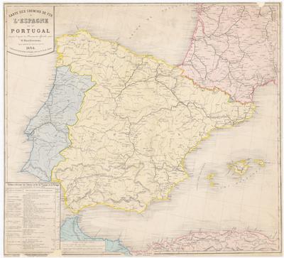Carte des chemins de fer de l'Espagne et du Portugal : dressèe, d'après des Documents officiels, par G. Hauchecorne, Agent général de Chemins de Fer