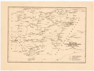 Mapa de la guia oficial de los ferro-carriles de España y Portugal