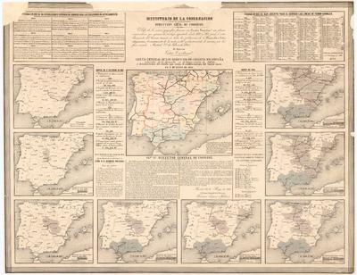 Carta General de los Servicios de Correos en España : reducida de la formada en 16 hojas, escala de 1:500.000 y demostracion del estado que tenia el establecimeinto del Correo diario en 1o. de Enero de 1866