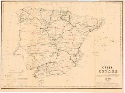 Carta de España : Con los ferro-carriles concedidos y propuestos para formar la red general, y las carreteras que comprende el plan de las del Estado, con la situacion en que se hallaban en 1º. de Enero de 1865