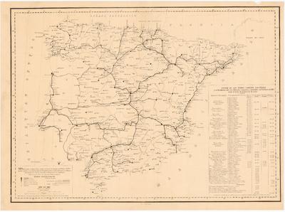 Carta indicando el estado de los caminos de hierro de España en 1o. de Enero de 1867 : con las capitales de provincia, cabezas de partido judicial, plazas de guerra y aduanas de la Península y con las estaciones de las líneas en explotación