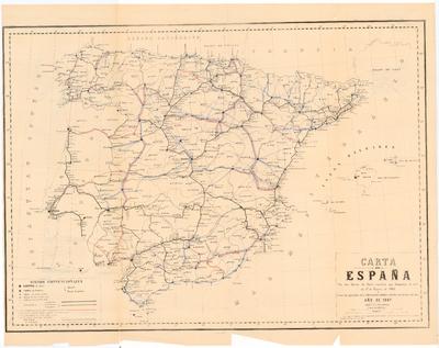 Carta de España con las lineas de ferro-carriles que formaban la red en 1o. de Enero de 1866 y todas las apoyadas en la información pública abierta con motivo del plan