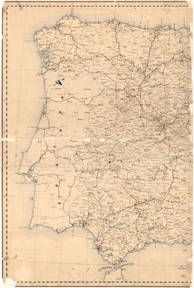 Carta de los ferro-carriles de España y de las carreteras de 1o. 2o.y 3er. órden
