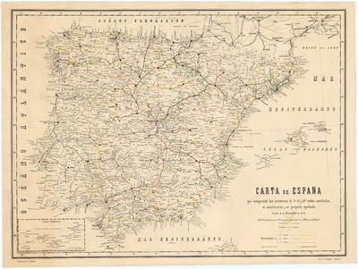 Carta de España que comprende las carreteras de 1o. 2o. y 3er. órden, concluídas, en construción y en proyecto aprobado, hasta 31 de Diciembre de 1872