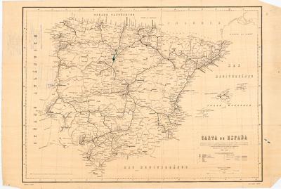 Carta de España indicando el estado de los caminos de hierro en 1º de Julio de 1881, con las capitales de provincia, cabezas de partido judicial, plazas de guerra y aduanas de la Península y con las estaciones de las líneas en explotación