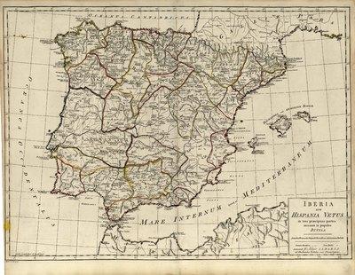 Iberia sive Hispania vetus in tres praecipuas partes necnon in populos divisa [Material cartográfico] : secundum monumenta antiqua & observationes astronomicas redacta