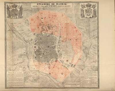 Ensanche de Madrid, anteproyecto : plano general de la zona del Ensanche y del emplazamiento y distribución del nuevo caserío, egecutado por Real orden de 8 de Abril de 1857